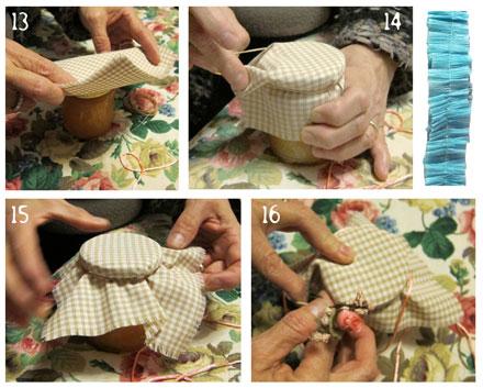 Coprire i barattoli con la stoffa