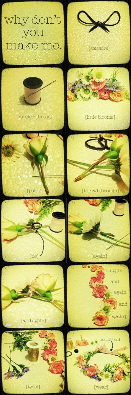 foto tutorial coroncina di fiori fai da te